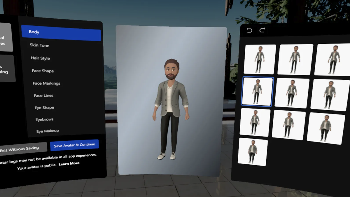 A photo of the new avatar editor.