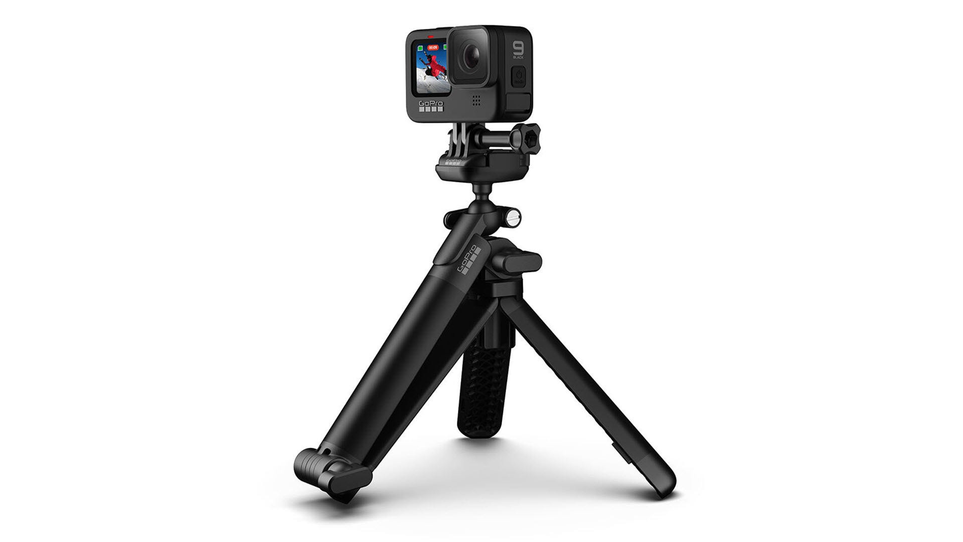 A GoPro on a 3-Way mount in compact tripod mode