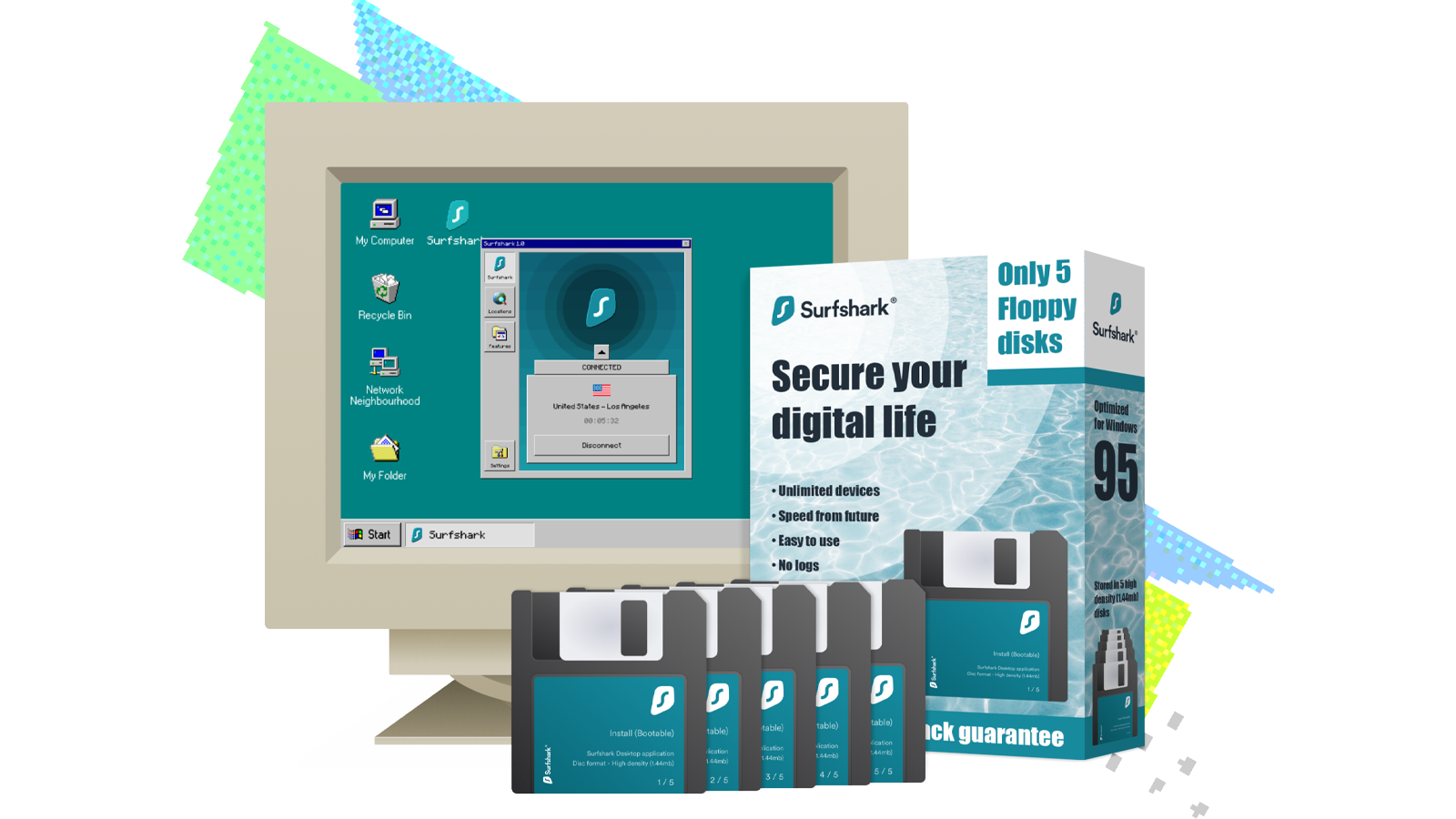 An illustration of Surfshark for Windows 95.