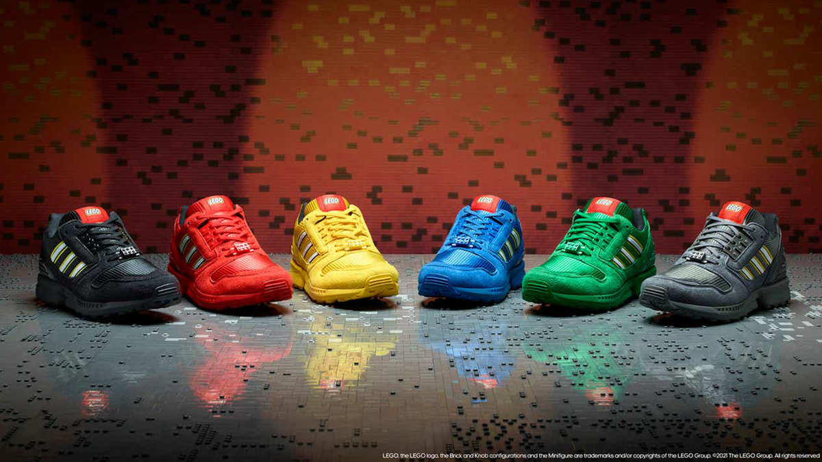 Adidas pays homage to Lego in its new colorful collection=.