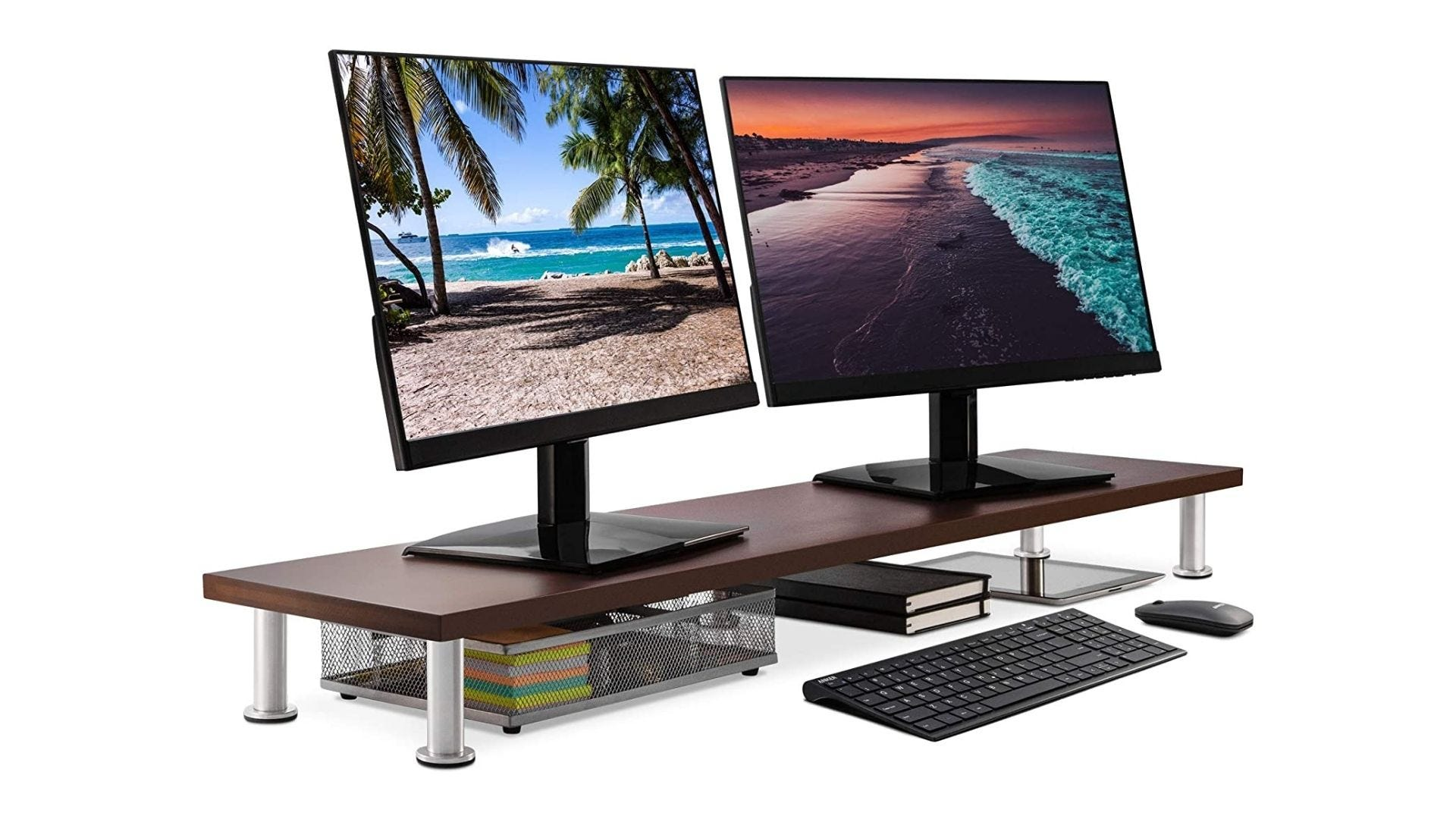 The Office Oasis Large Dual Monitor Stand for Computer Screens