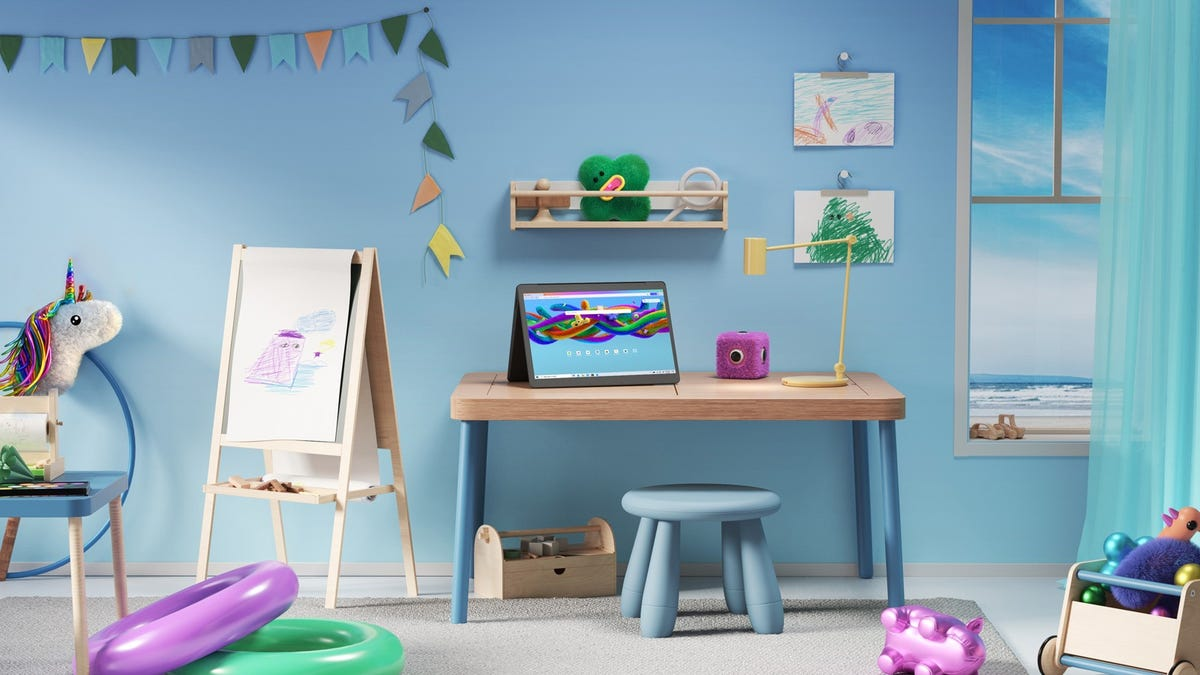 Microsoft Edge Kids mode on a 2-in-1 tablet in a child's room