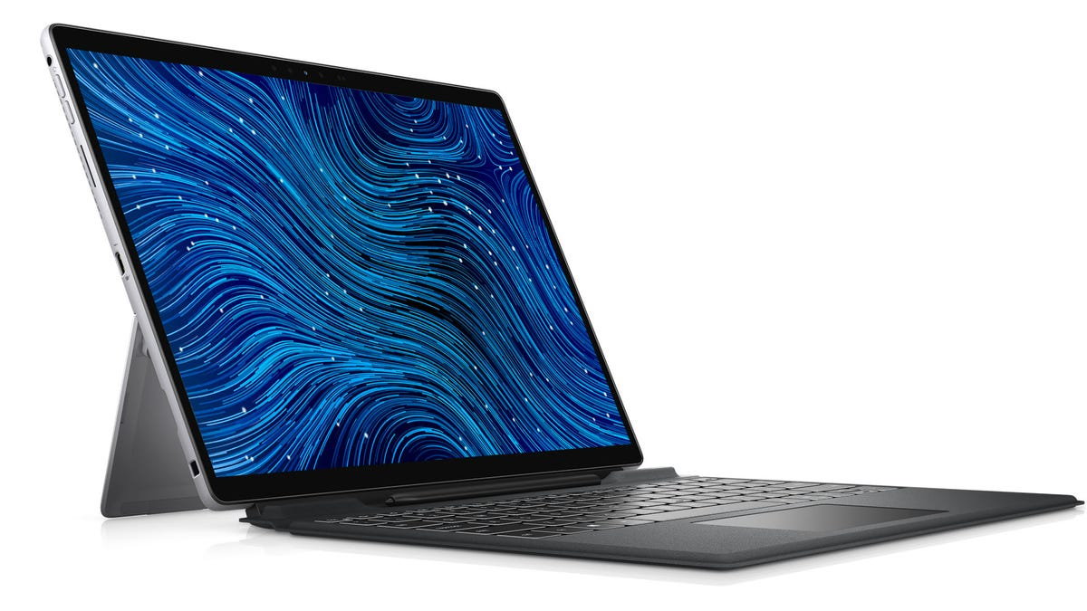 The Dell Latitude 7320 with a kickstand pulled out.