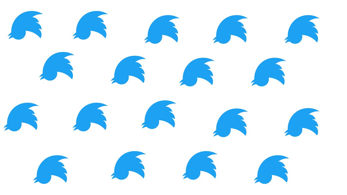 A series of Twitter bird logos upside down