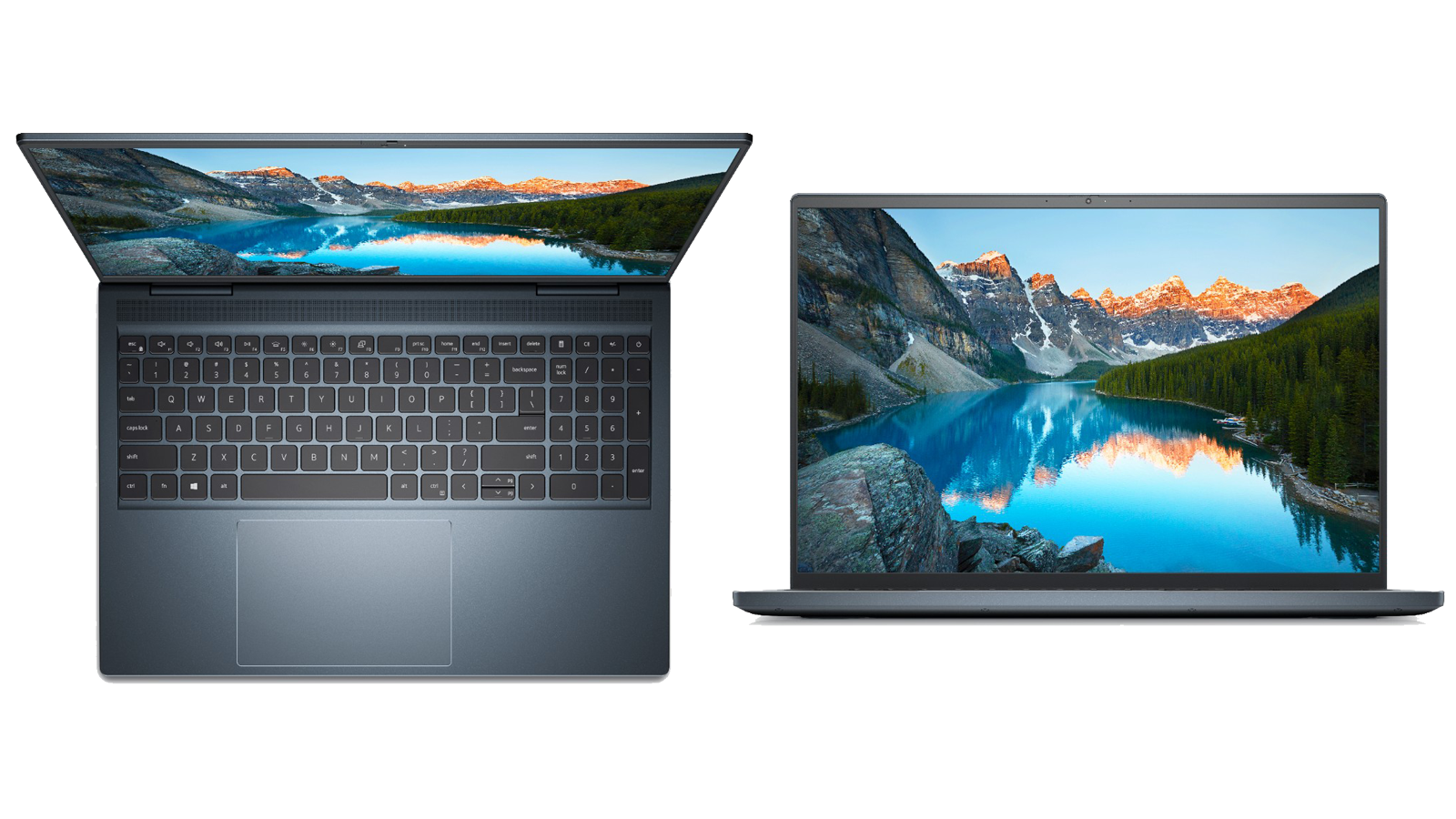 Top-down and front views of the Dell Inspiron 16 Plus