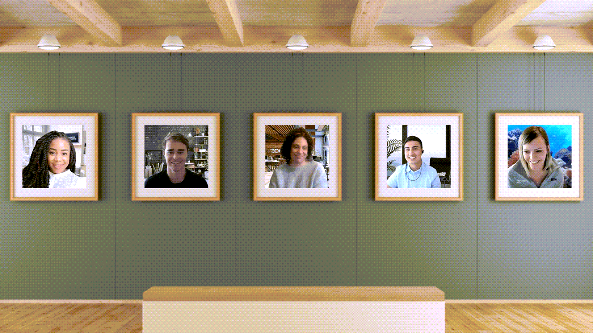 """A Zoom call with every participant in a """"painting"""" in an """"art galley."""""""