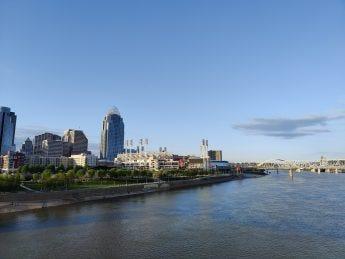 A closer view of Cincinnati over the river