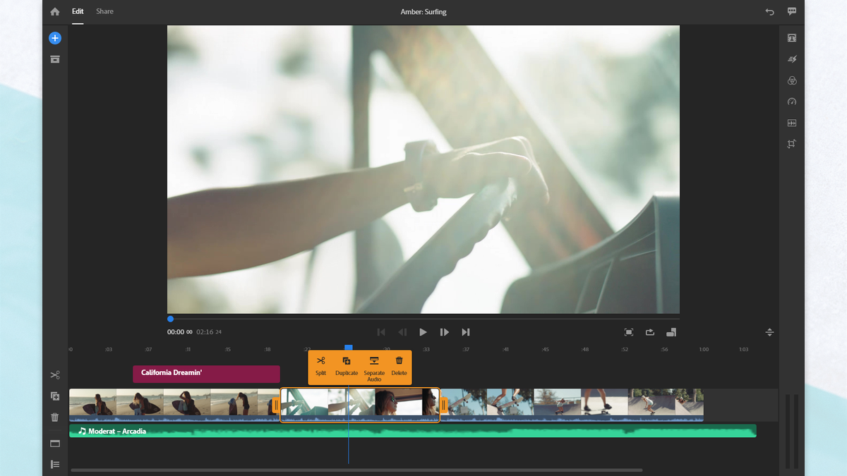 Adobe Premiere Rush with an on screen context menu.