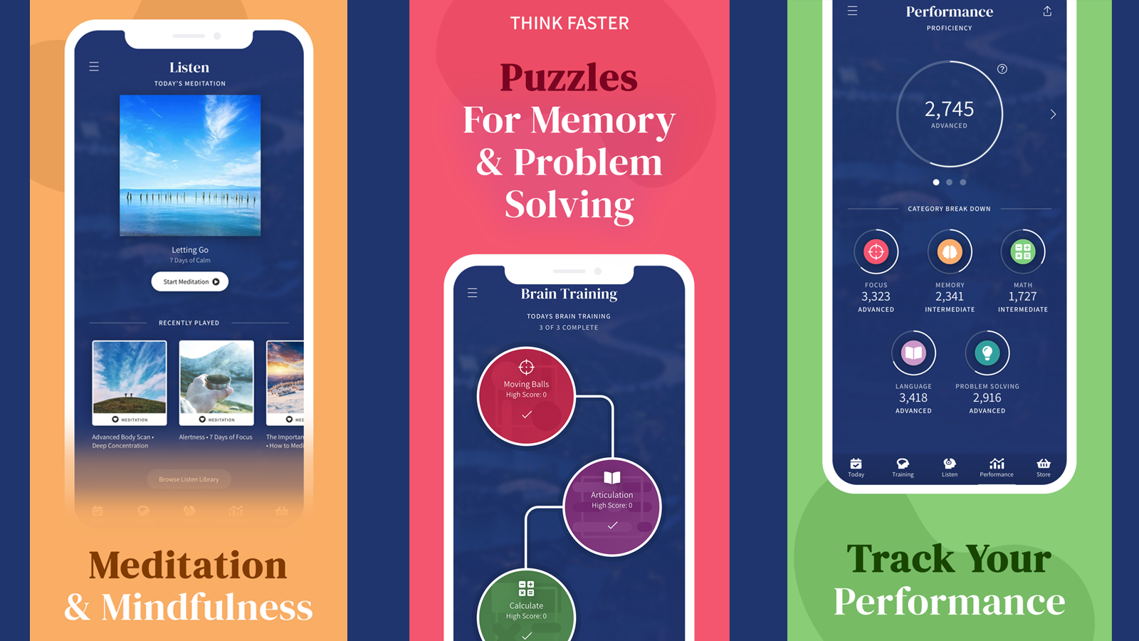 Focus Factor Brain Hub app with games, meditation, and tracking options