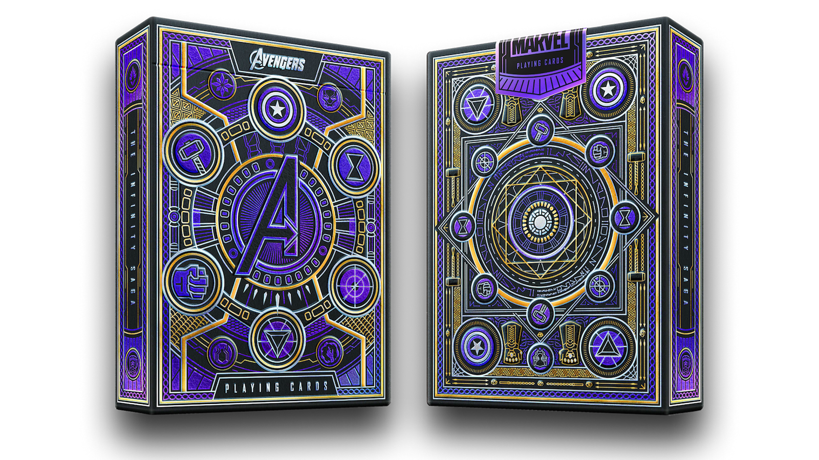 Fancy gilt themed packaging for the Avengers playing cards
