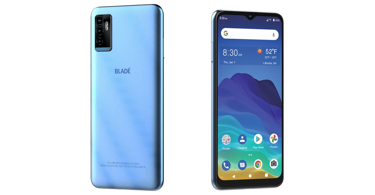 A ZTE Blade 11 Prime phone seen from front and back.