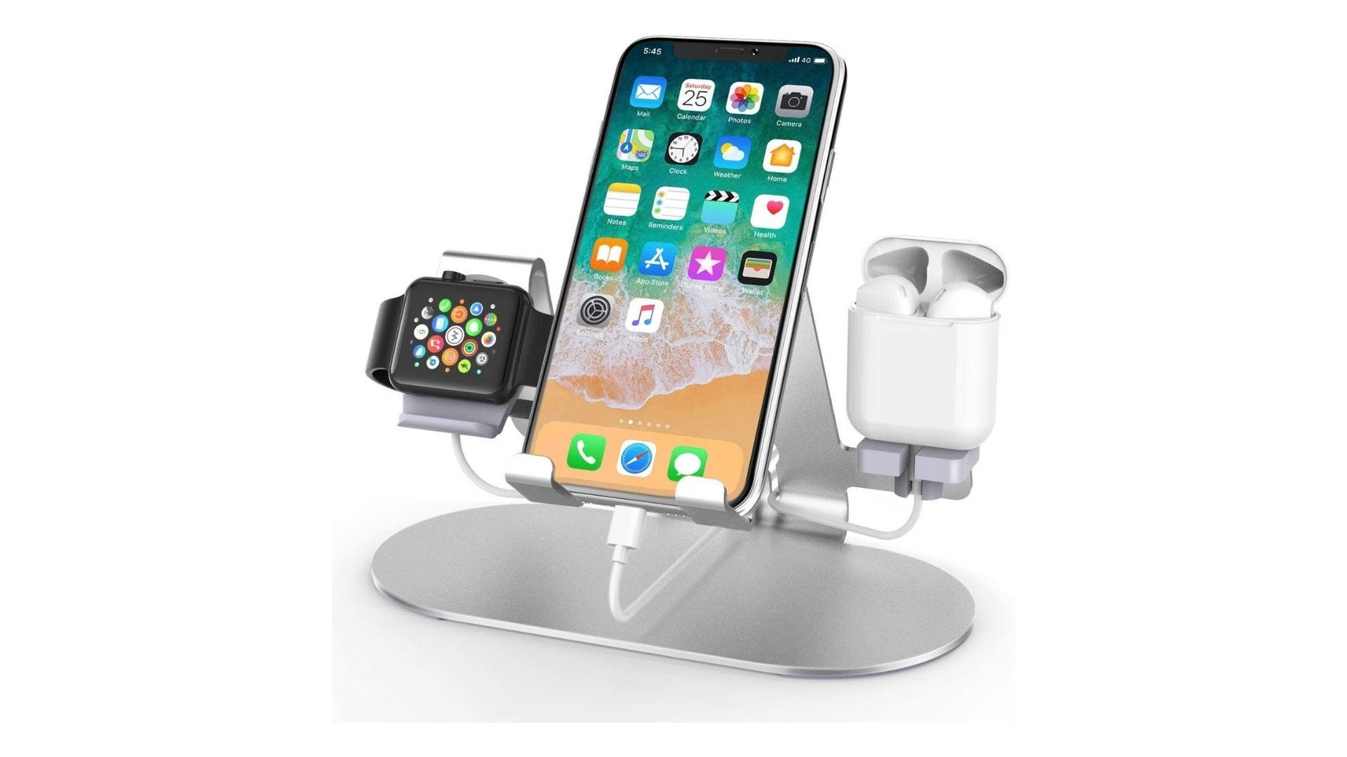 3 in 1 aluminum charging station for iphone apple watch and airpods horime
