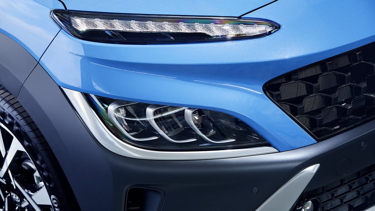 A blue Hyundai Kona EV