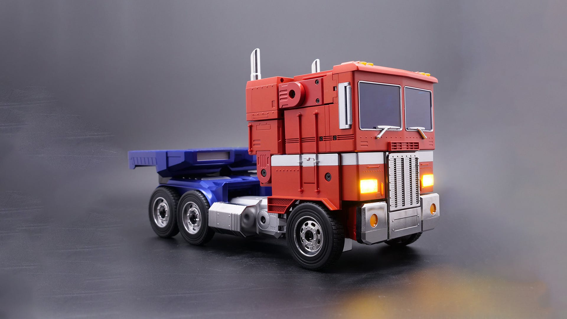 An Optimus Prime toy in truck form.