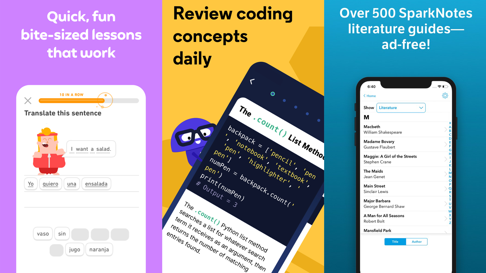 Duolingo, Codecademy, SparkNotes
