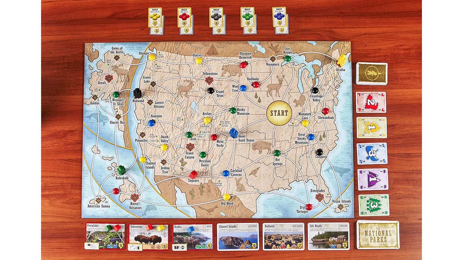 Top-down view of Trekking the National Parks game board and components