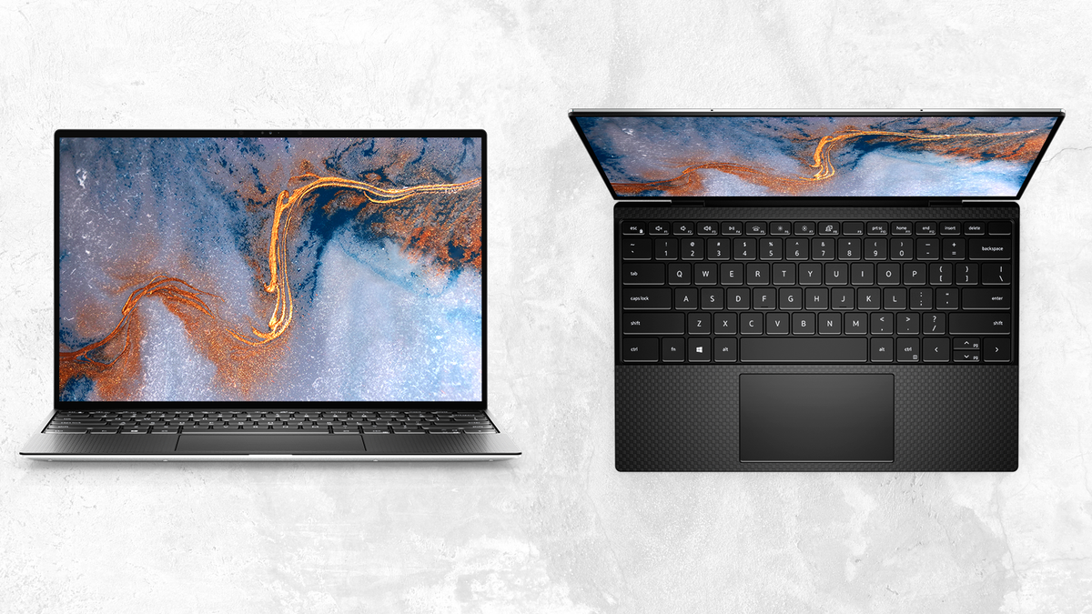 Front view and top-down view of new Dell XPS 13 with OLED laptop on white textured background