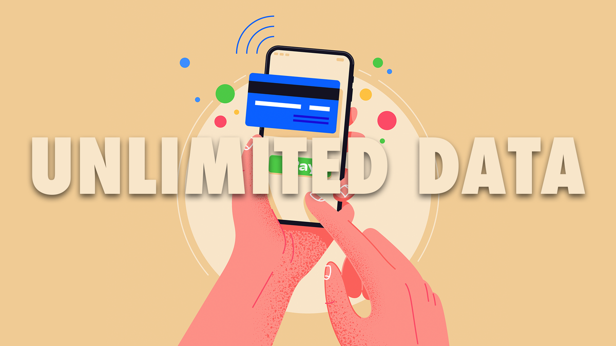 An illustration of unlimited data on a phone.