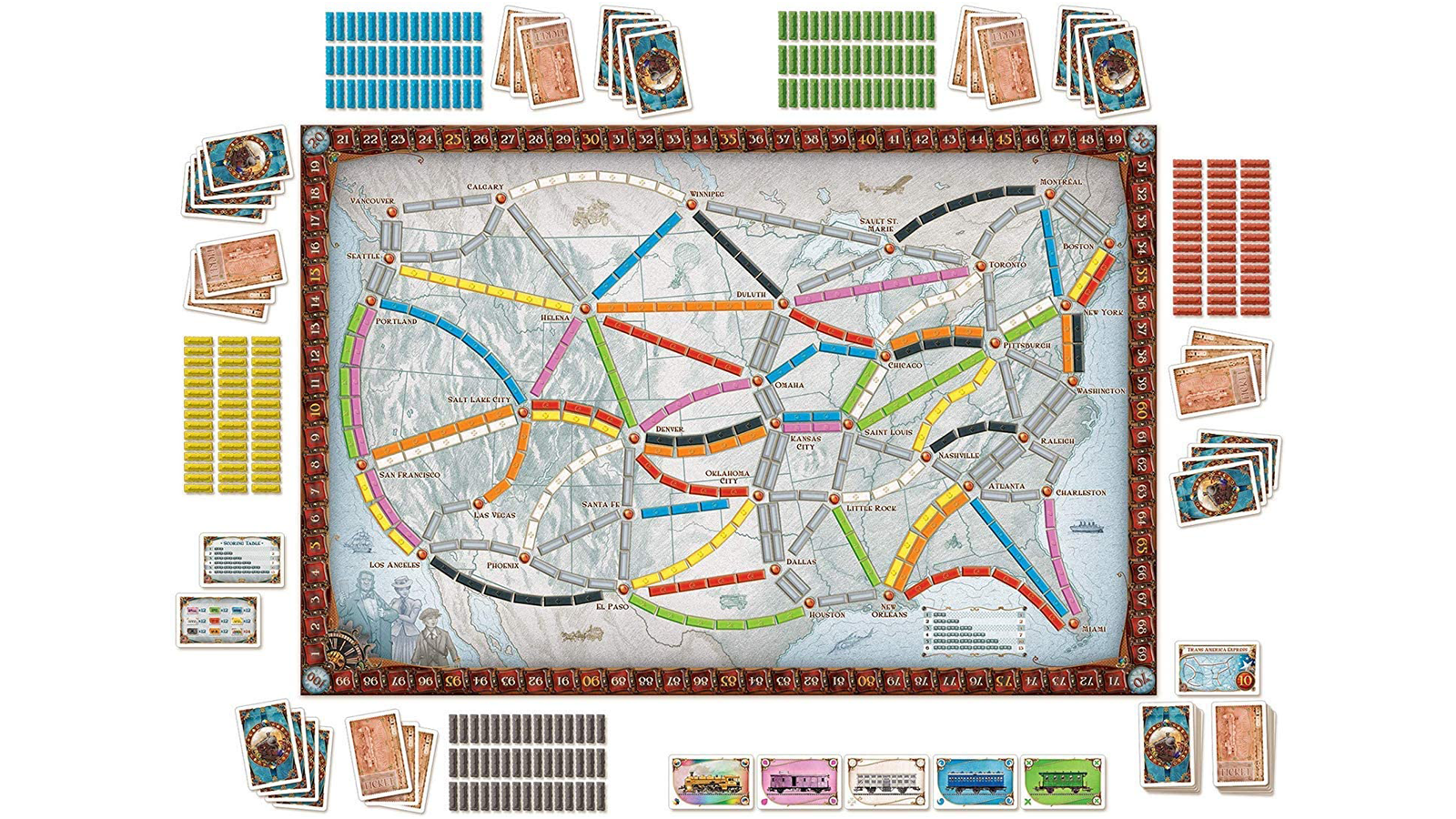 Ticket to Ride top-down view of board, cards, and other accessory components