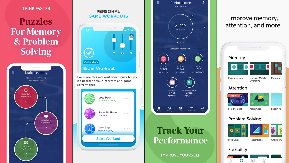 Features from multiple brain training apps
