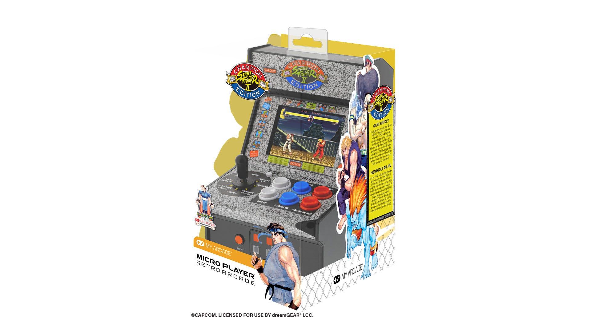 The 'Street Fighter II' Micro Arcade in packaging.
