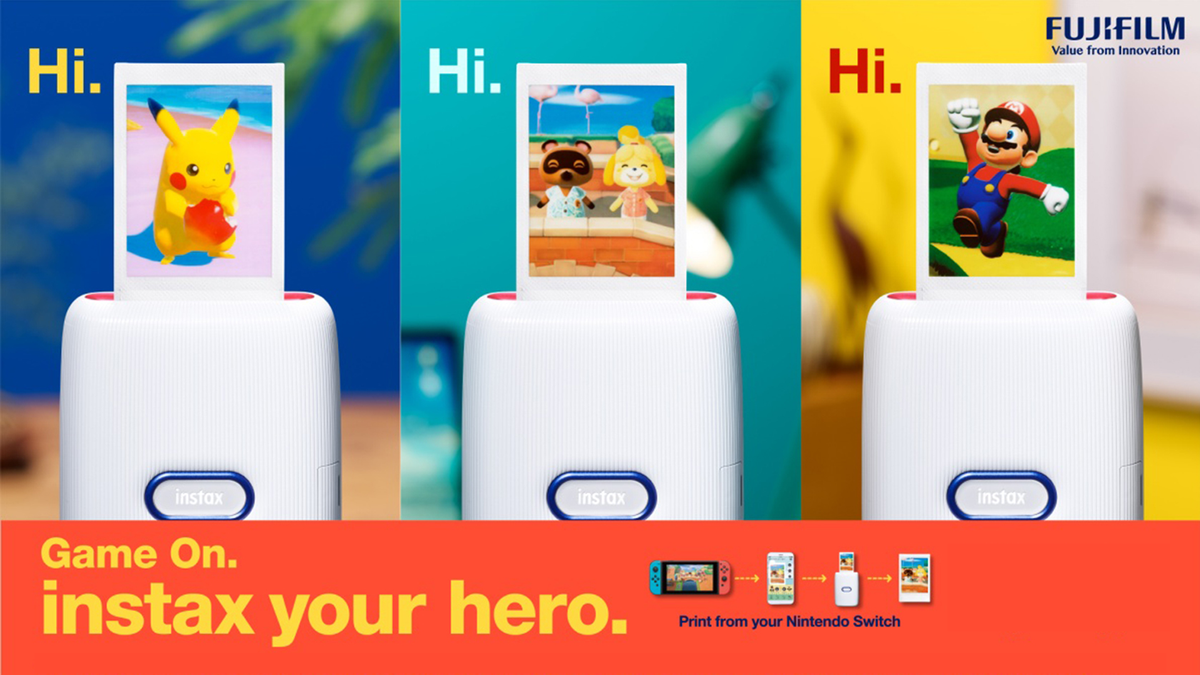 Fujifilm and Nintendo collaboration Instax photo printer with Nintendo-themed frames and character options