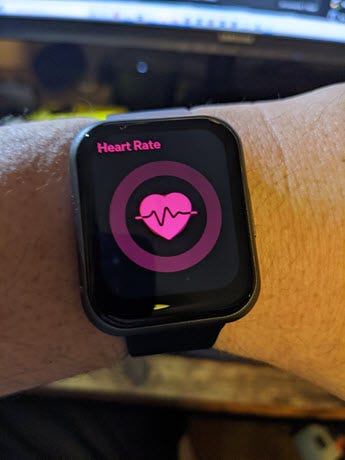 Watch 47 Heart rate screen.