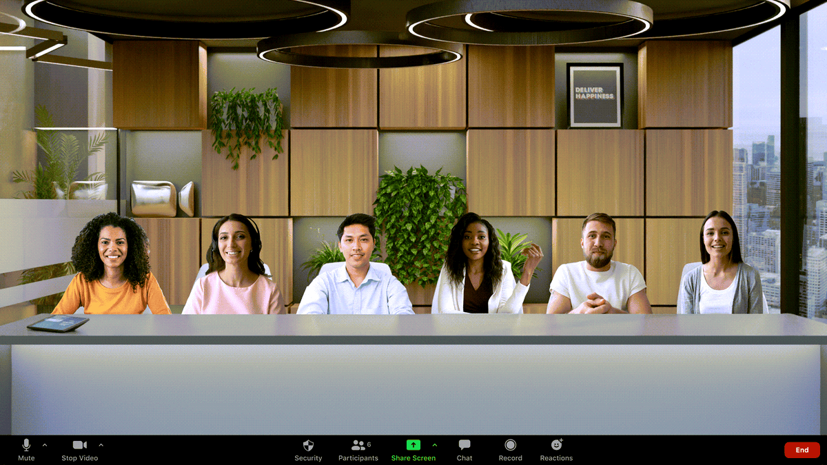 A Zoom call with all participants seemingly in the same conference room