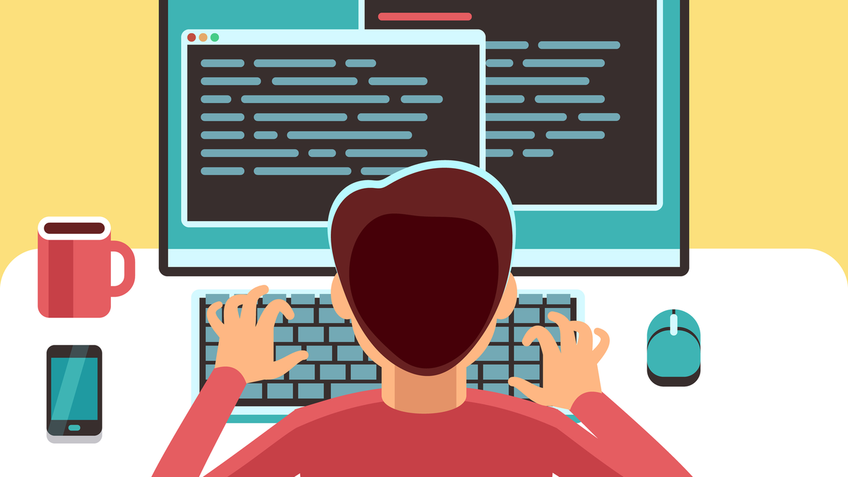Vector art of a young man programmer working on computer with code on screen