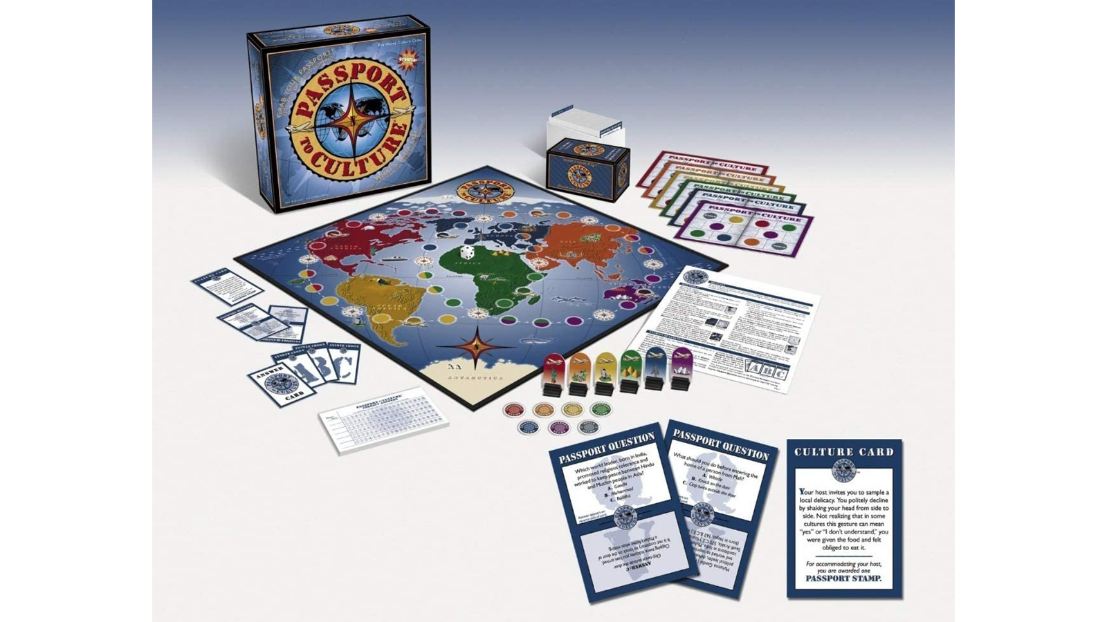View of Passport to Culture board and game components