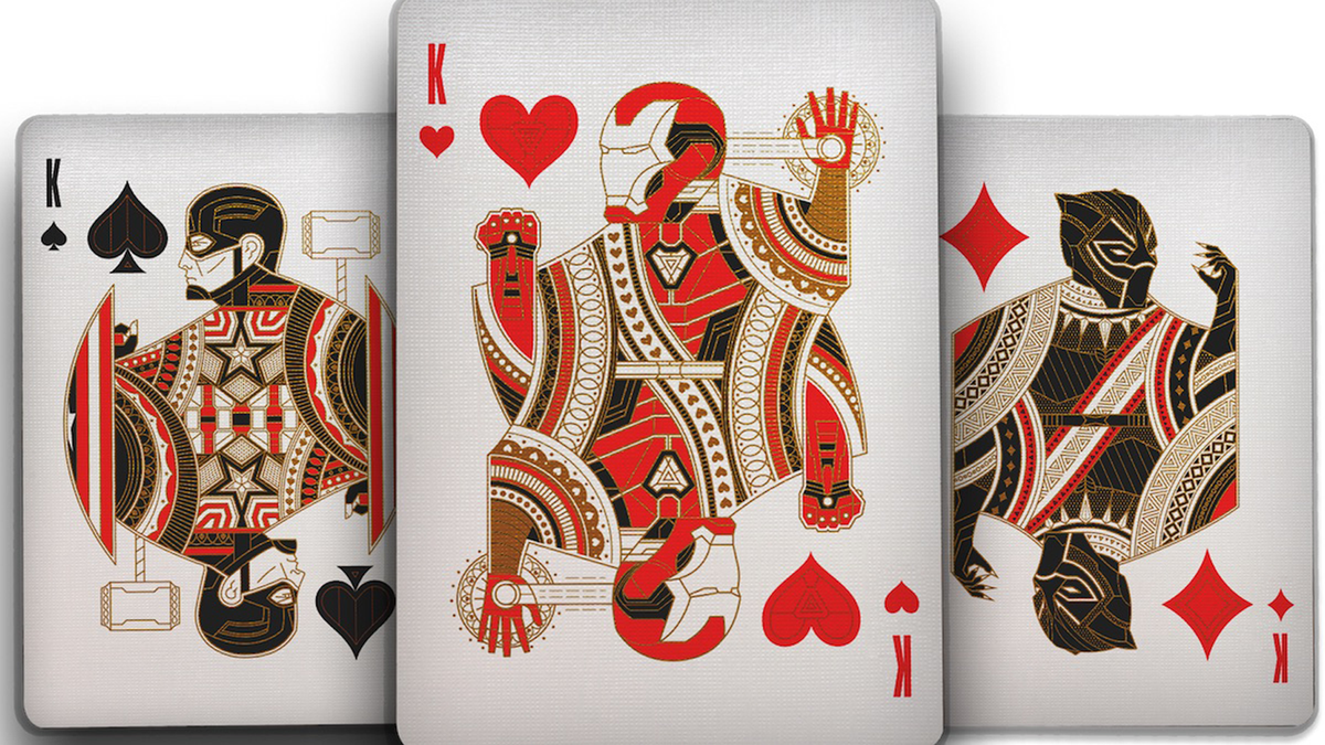 Three Avengers-themed playing cards featuring Captain America, Iron Man, and Black Panther