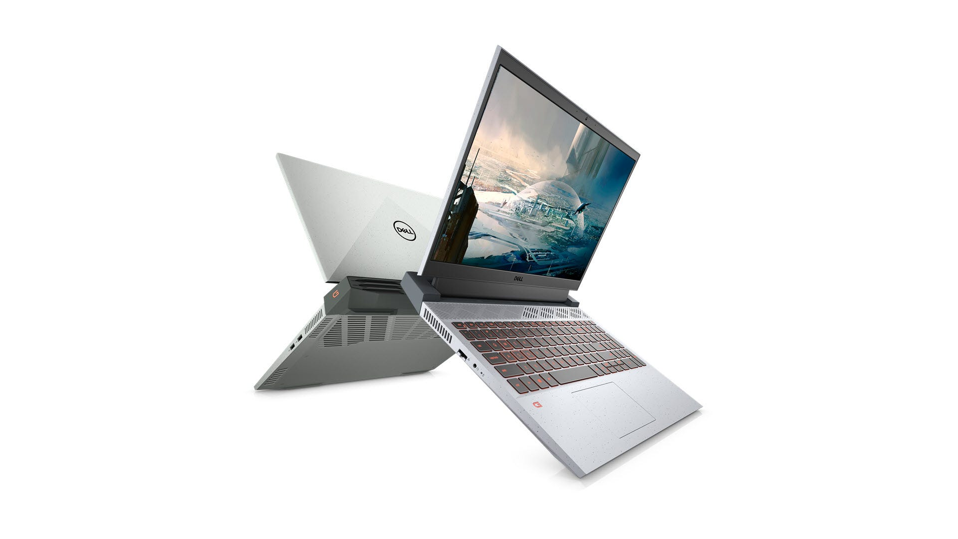 A Dell G15 Laptop seen from front and back.