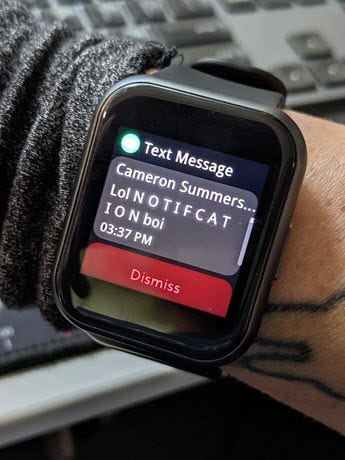 Watch 44 Text notification.