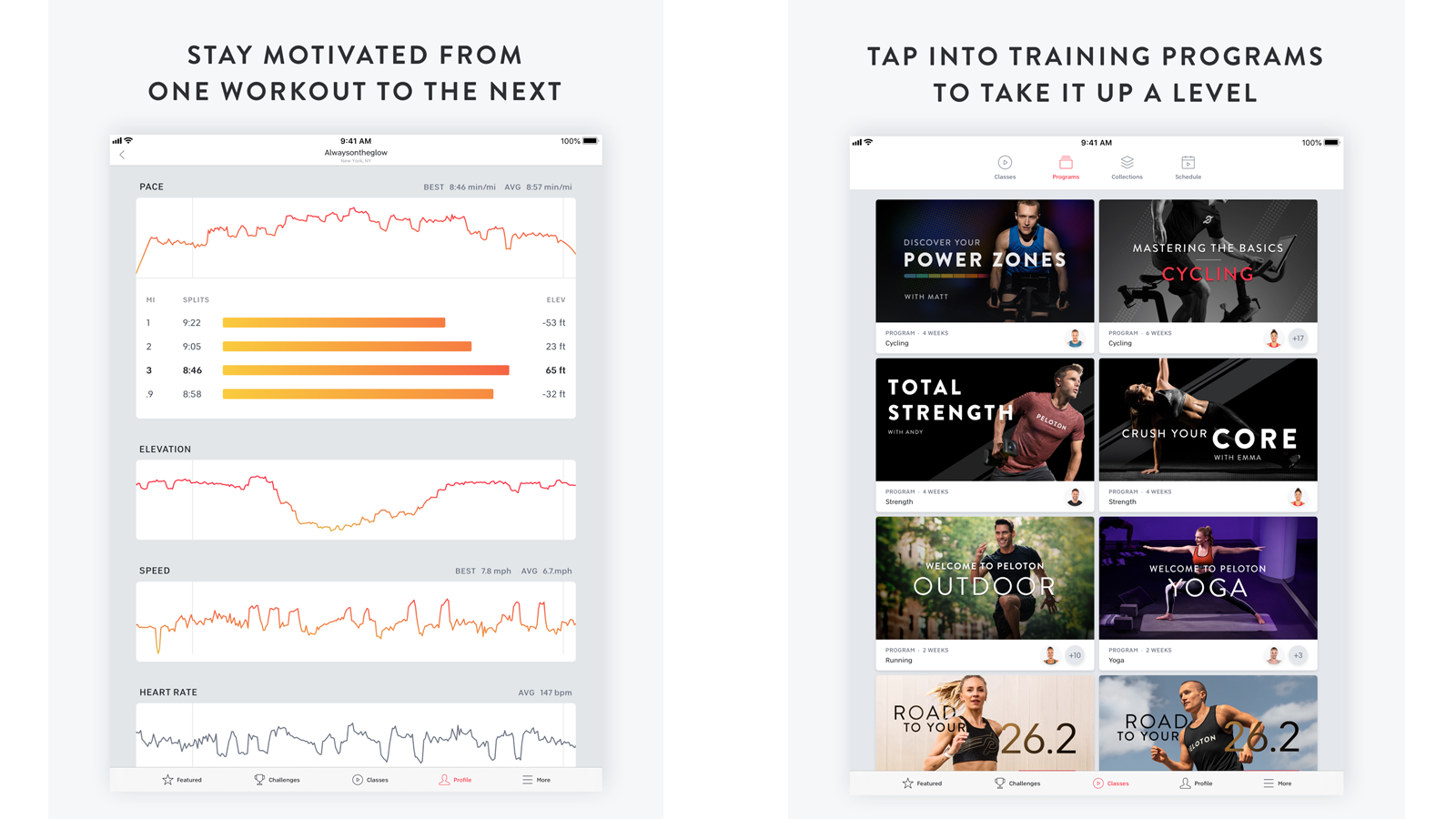 Peloton Digital app with different workout lessons and program tracking