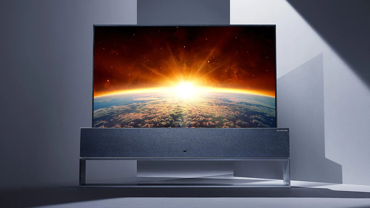 LG Rollable TV upright in modern gray angular rooom