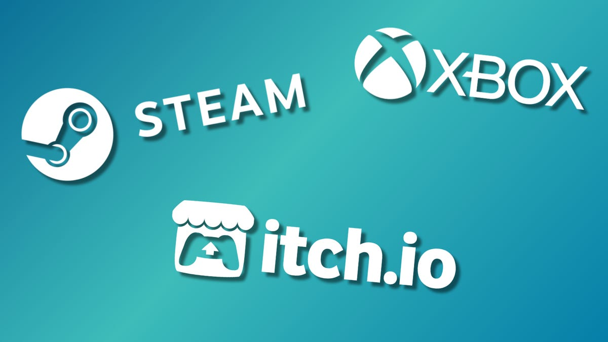 Steam, Xbox and itch.io logos against a multi-colored background