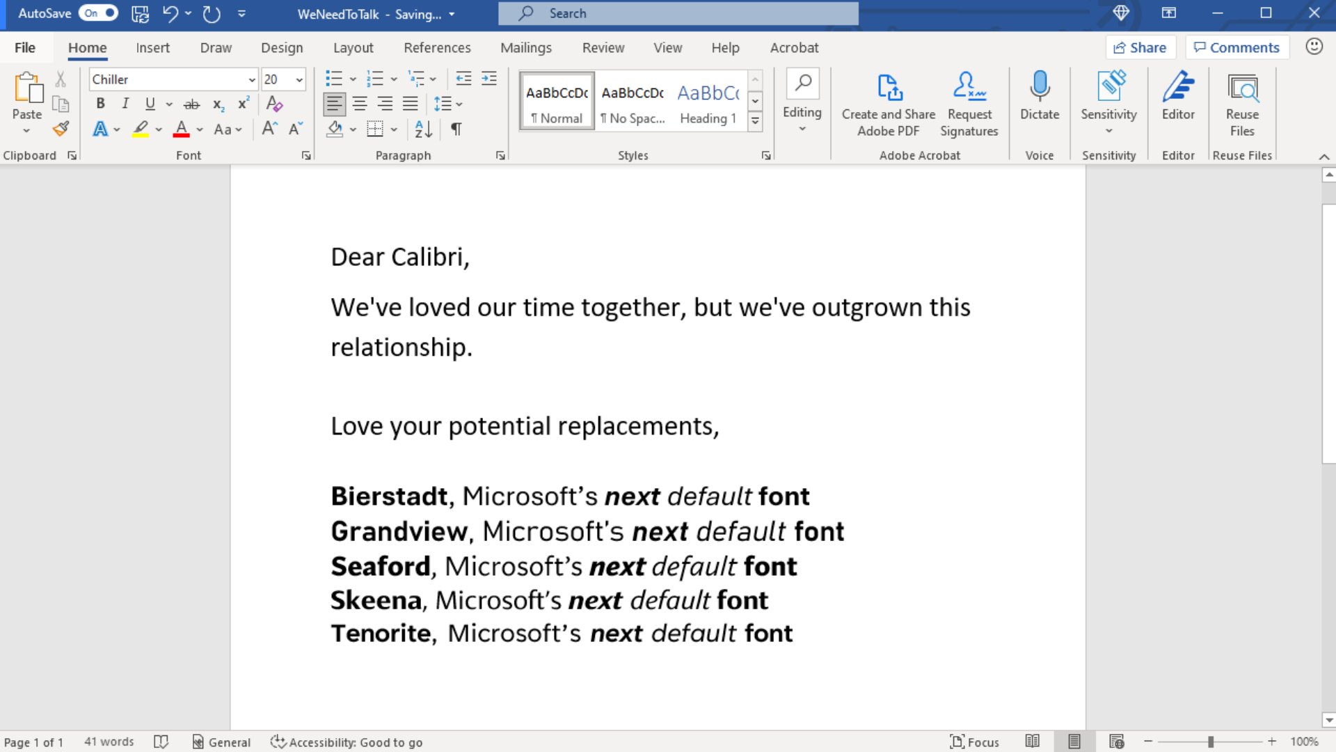 A Word document with the four new fonts.