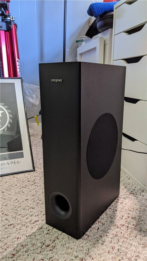 The front of the Stage V2's passive subwoofer