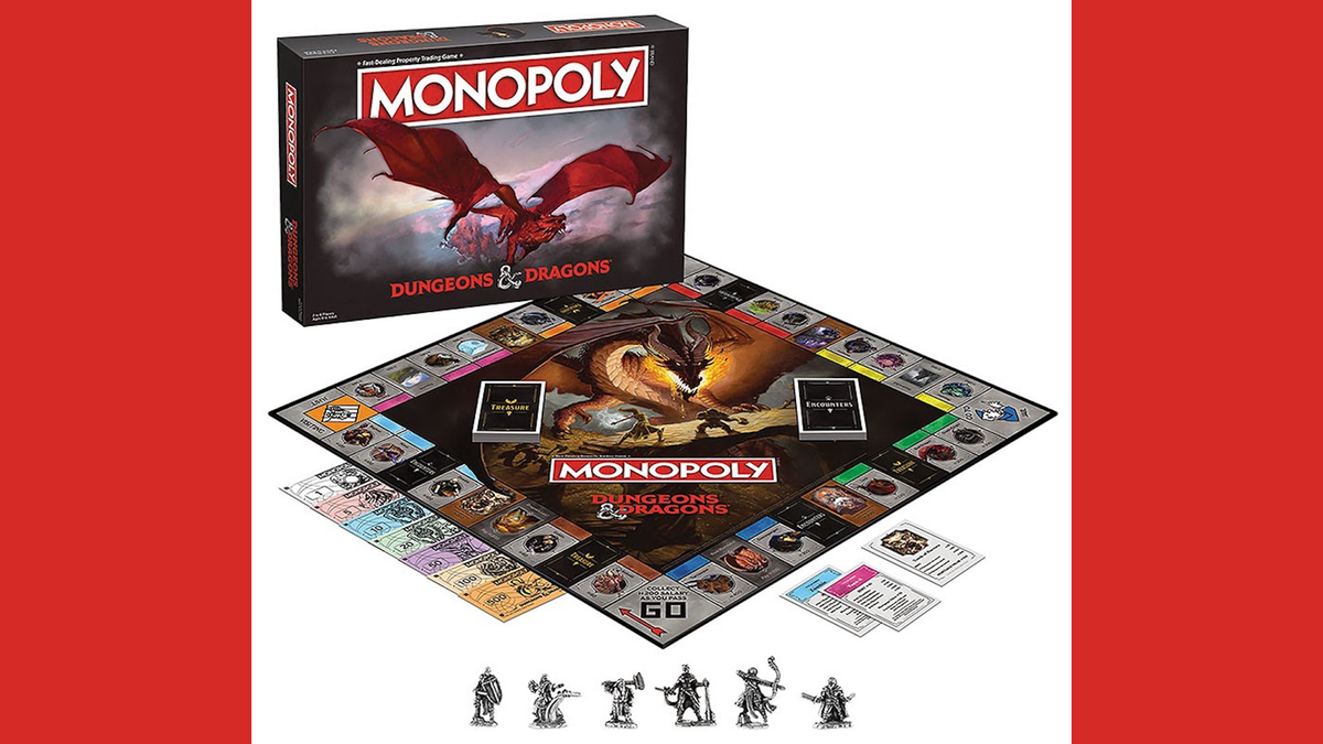 Monopoly: Dungeons & Dragons box, board, money, tokens, and cards, laid out on a surface