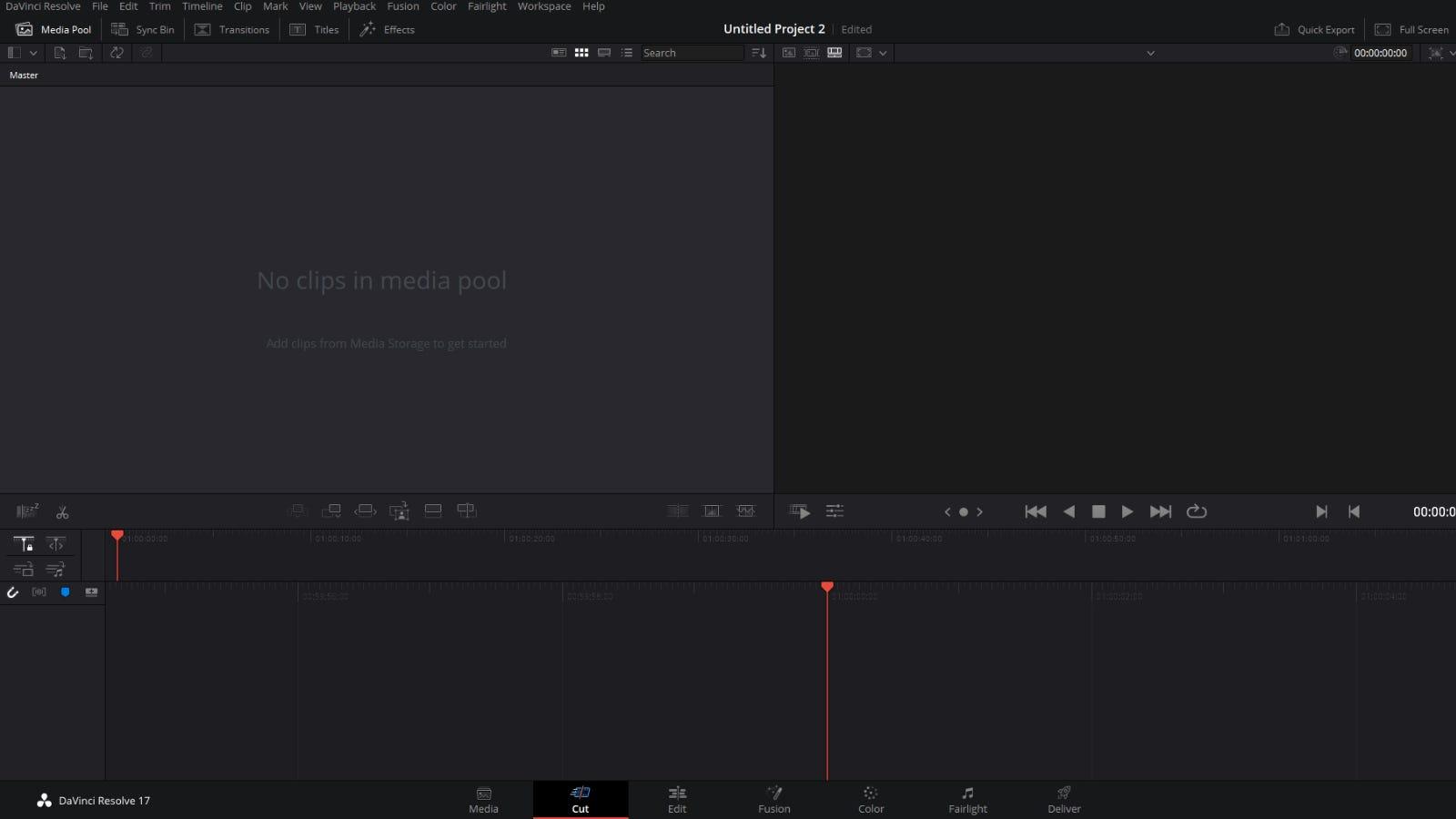 DaVinci Resolve 17 main editing window