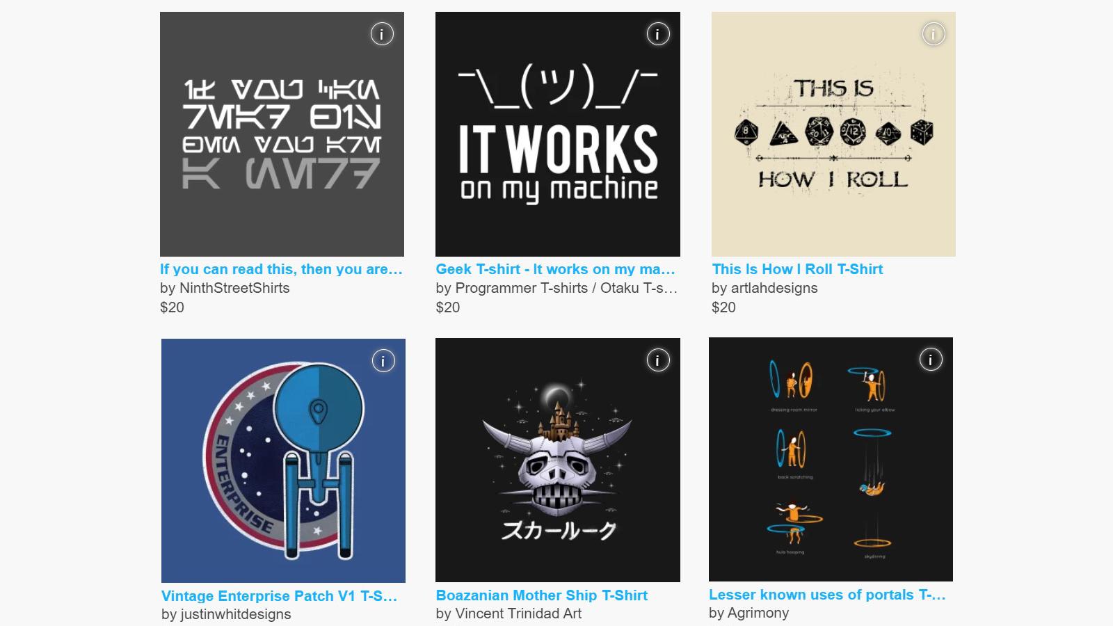 Six of the many nerdy shirt designs at TeePublic