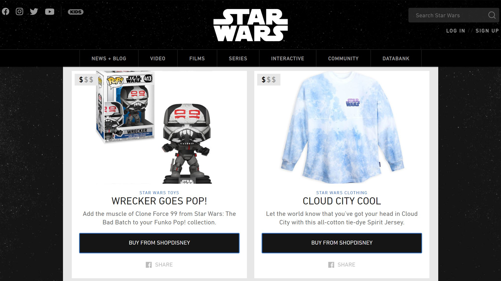 Home page of the star wars shop with Funko Pops and a long-sleeve shirt