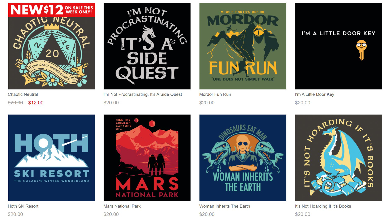 Eight colorful t-shirt designs on SnorgTees