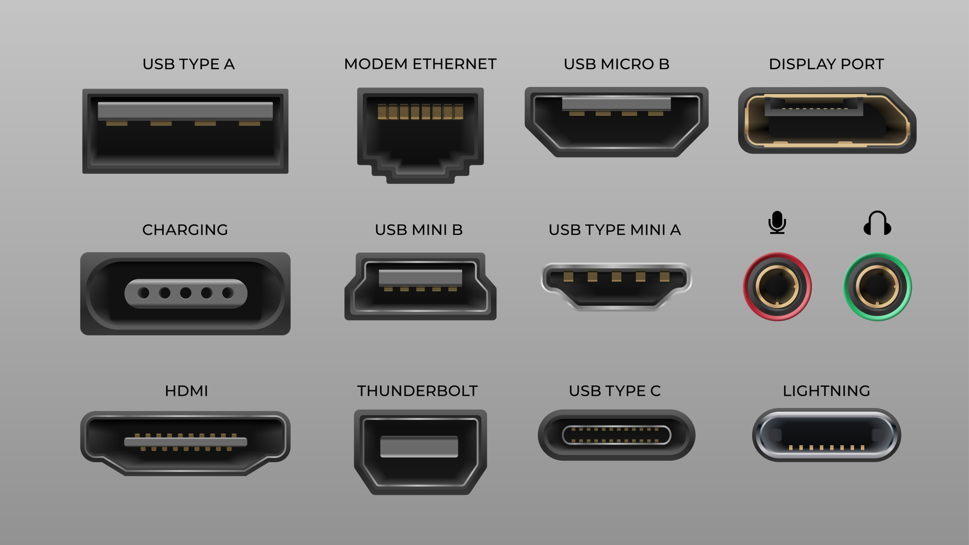 Connector and ports. USB type A and type C, video ports hand drawnMI DVI and Displayport, audio coaxial, lightning vector ports, universal elements pc connectors