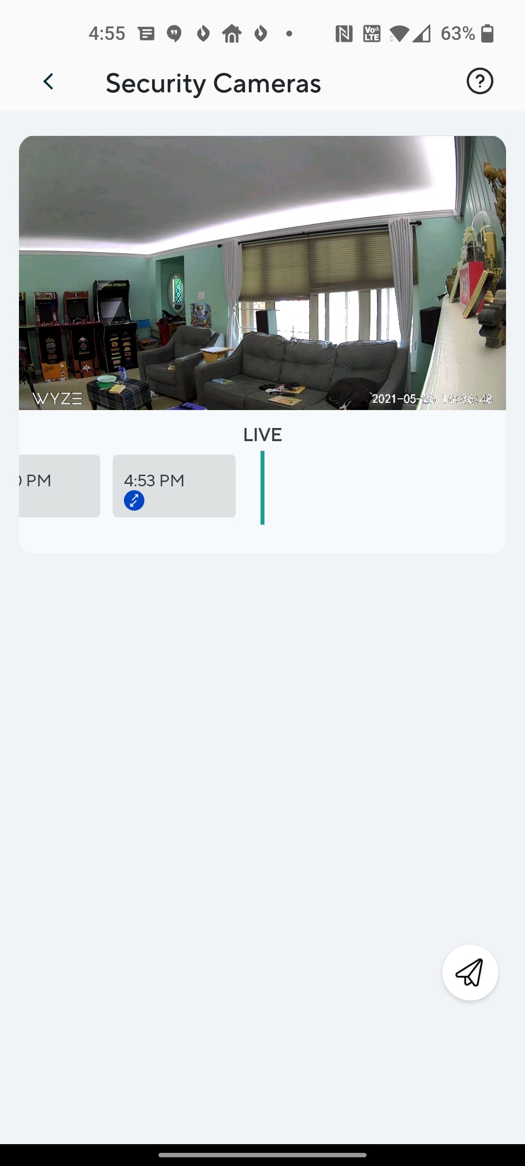 Wyze's Home Monitoring security camera views.