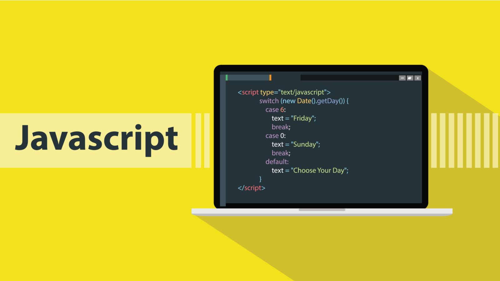 JavaScript programming language with script code on laptop screen