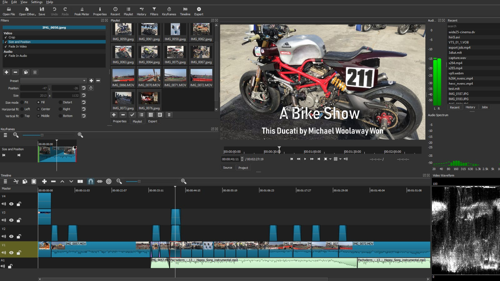 Shotcut main editing window