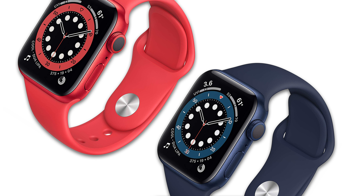 The Apple Watch Series 6 in red and blue.