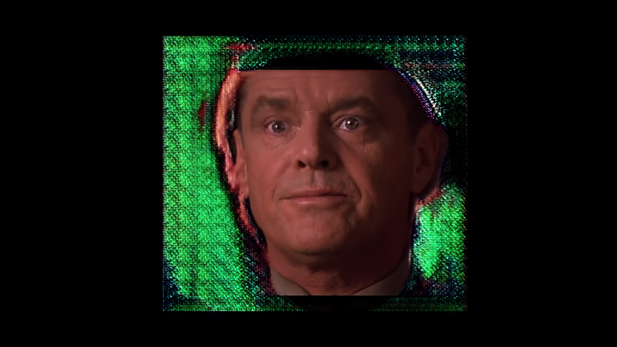 Jack Nicholson floats on a neural motor like a wad of French fries in a garbage collection.