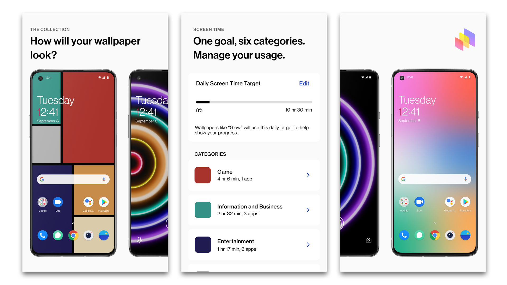 OnePlus WellPaper settings page.